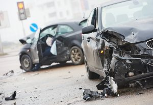Two Cars with Severe Damage After a Car Crash Accident