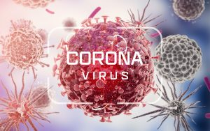 Coronavirus Text with a background of Cells and viruses